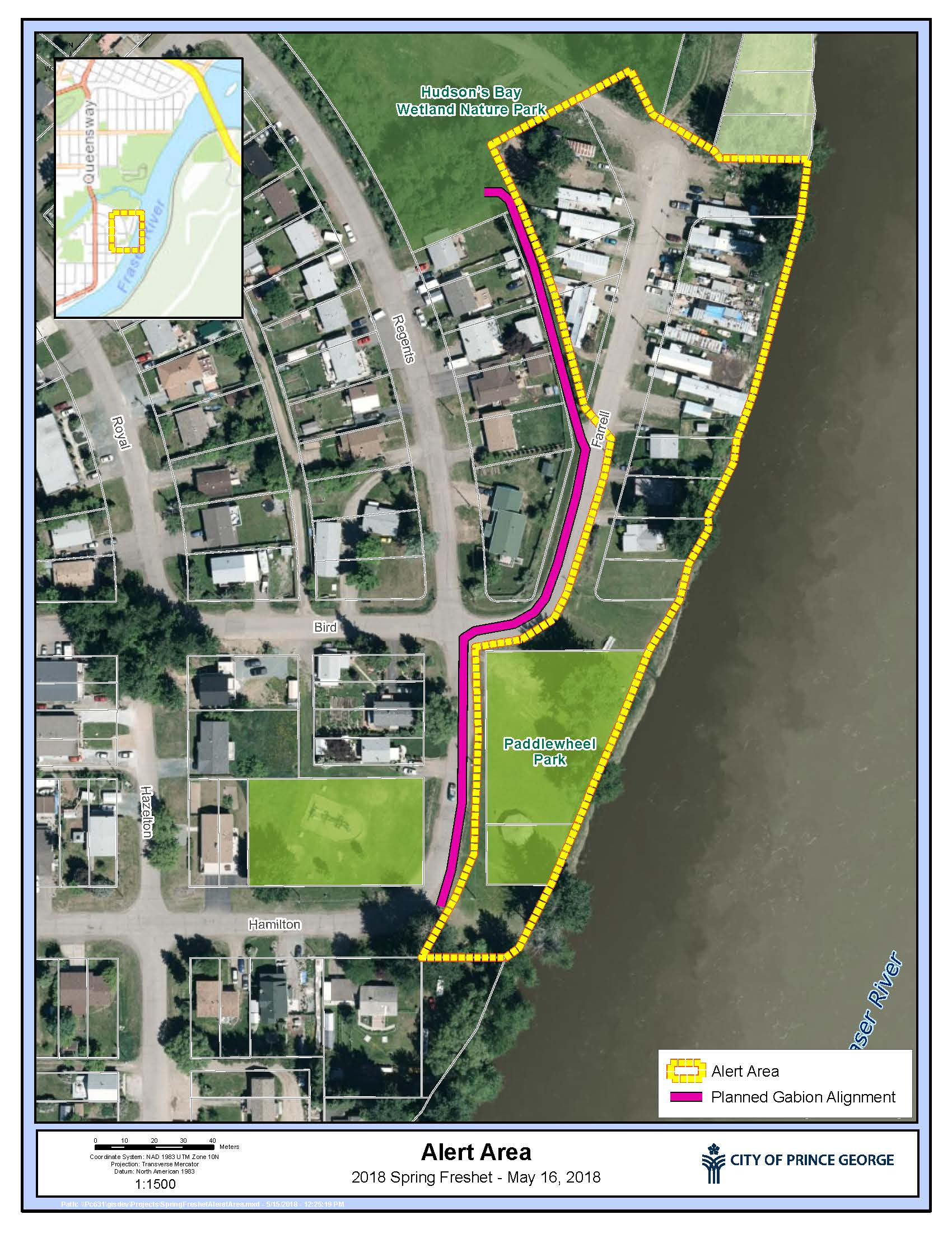 The City of Prince George is alerting residents living on Farrell Street near Paddlewheel Park that there is a significant risk of flooding in their area. Residents are advised to be ready to leave their properties on short notice should an evacuation order be issued. No evacuation orders have yet been given. Please refer to the map, which outlines the affected area.