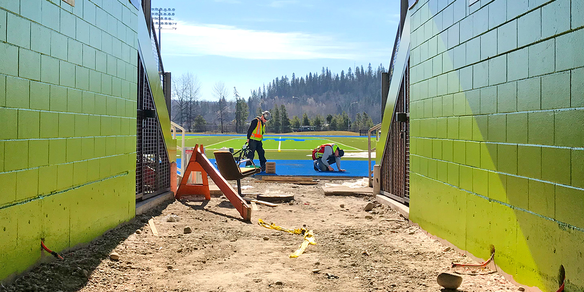 Masich Place is scheduled to open mid-June 2018. The location is currently an active construction site. Crews are resurfacing the track, painting the grandstands, and installing fencing bordering PGSS.