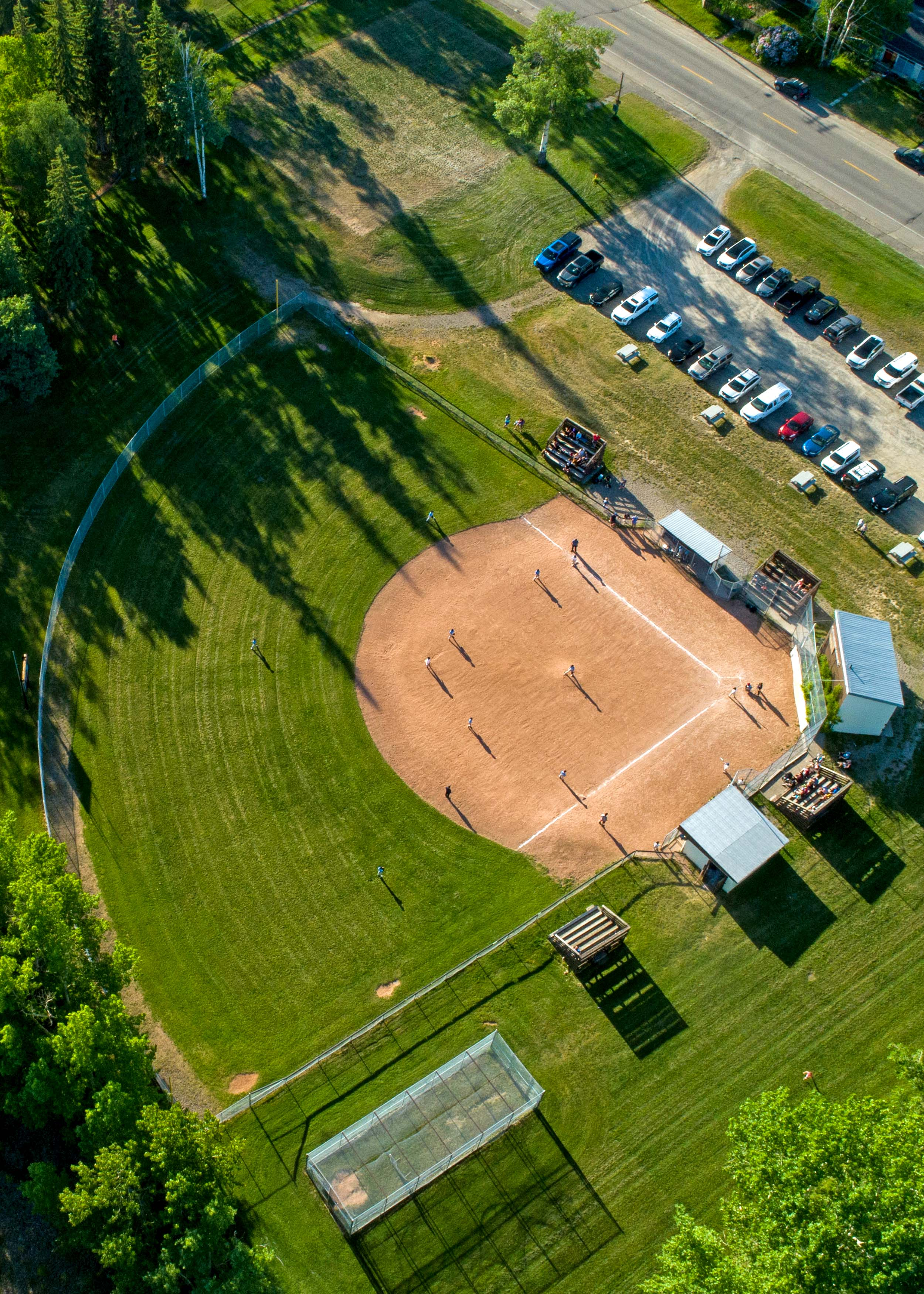 City sport fields and ball diamonds are now open (an aerial view of Gyro Park is featured in the photo).