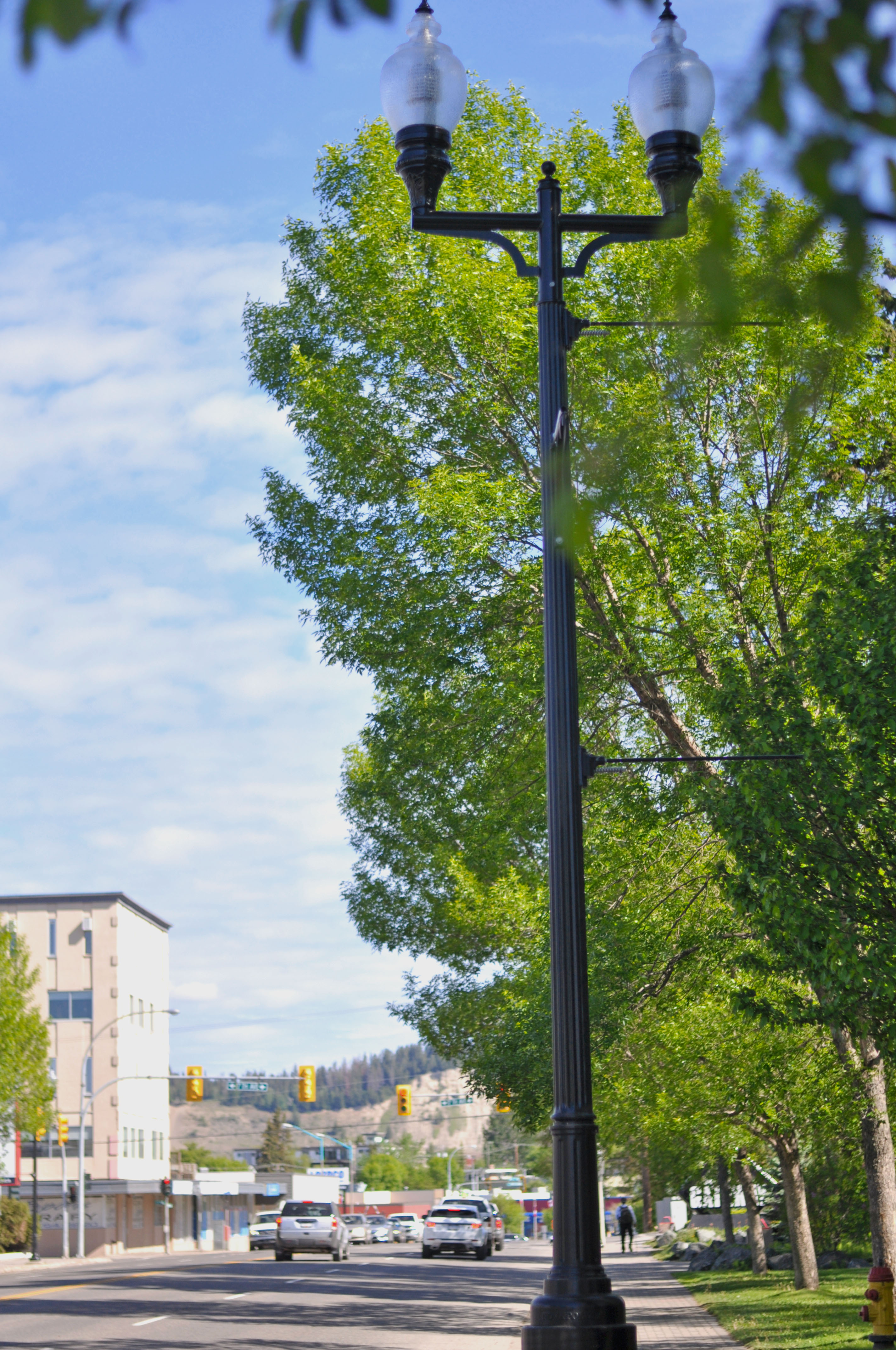 Some of the recently installed decorative streetlight poles with efficient LED lights along Victoria Avenue heading towards downtown.